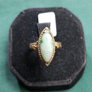 14kt gold marque cut jade ring